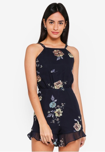 MDSCollections blue and navy Kale Cutout Romper In Midnight 7725AAADF84599GS_1