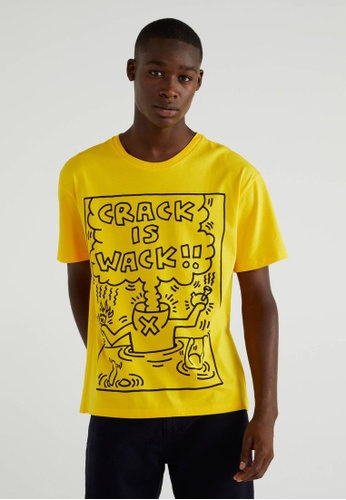 """United Colors of Benetton yellow """"Keith Haring"""" Printed T-shirt 51B51AAEF25EF8GS_1"""