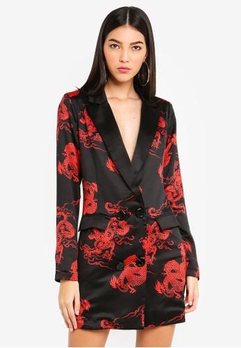 MISSGUIDED black Dragon Print Blazer Dress 64FAEAA51A4EF5GS_1