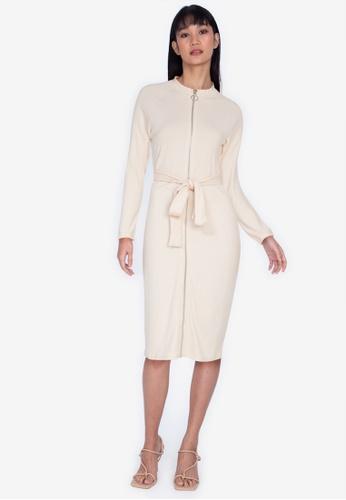 ZALORA BASICS beige Zip Through Rib Dress 16F37AA9C7004DGS_1