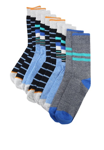Burton Menswear London black and multi 5 Pack Bright Striped Socks 847CBAABB38C13GS_1