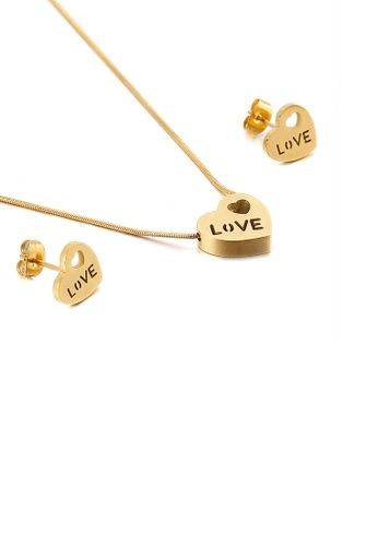 Glamorousky silver Simple and Fashion Plated Gold Heart-shaped 316L Stainless Steel Necklace and Earrings Set 902D1ACA287BCDGS_1