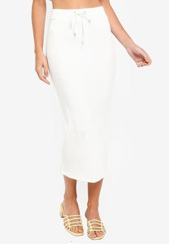 best loved new selection popular brand Ivory Ribbed Midi Skirt