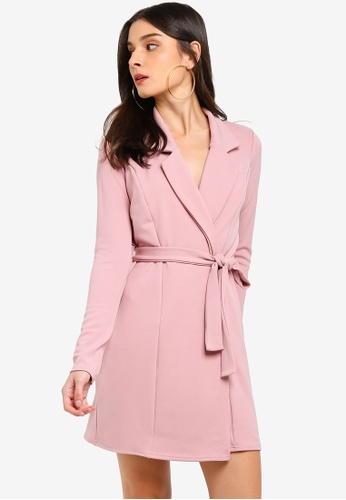 MISSGUIDED pink Long Sleeve Belted Blazer Dress 2A17DAA2324BFAGS_1