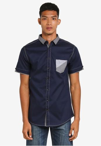 Fidelio 海軍藍色 撞色短袖襯衫 2F769AA5F4F719GS_1