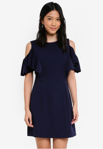ZALORA navy Cold Shoulder Shift Dress 97A69AA96657E0GS_1