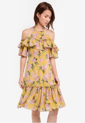 ZALORA yellow Cold Shoulder Midi Dress A6011AAA3A7ECDGS_1