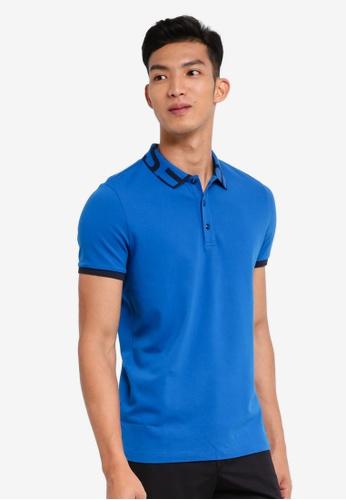 BOSS 藍色 休閒短袖POLO衫 DED78AA4DBDA09GS_1