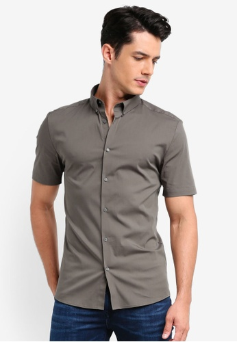River Island green Muscle Poplin Shirt 70C61AAEC3B5C6GS_1