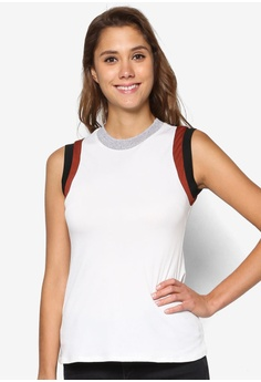 Dorothy Perkins white Ivory Colour Block Shell Top DO816AA14ZUZMY_1