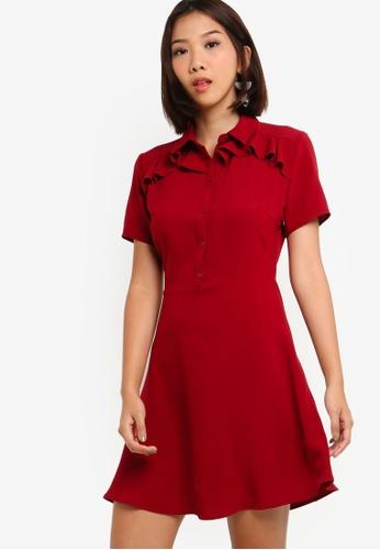 Something Borrowed 紅色 Ruffles Shirt Dress 1452BAA5B0FDF5GS_1