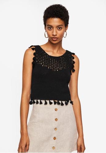 Mango black Tassels Knit Top 97E24AA9998425GS_1