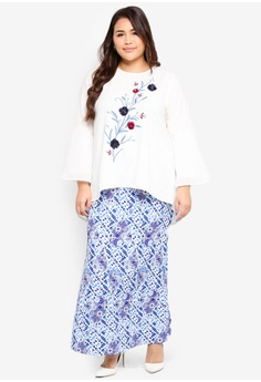 1c66ecad1d Ms. Read white and blue Flare Sleeve Embroidered Kurung CBC8EAAA5AA448GS 1