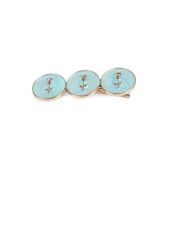 Glamorousky silver Fashion Simple Plated Gold Flower Blue Geometric Round Hair Clip 99DF9ACA0B8B71GS_1