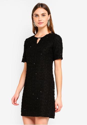 Dorothy Perkins 黑色 Billie & Blossom Black Sparkle Trim Shift Dress DC803AAB19D0B4GS_1