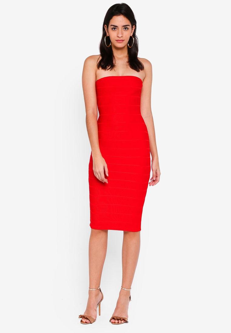 MISSGUIDED Red Midi Bandeau Bandage Dress qawt8nxAv