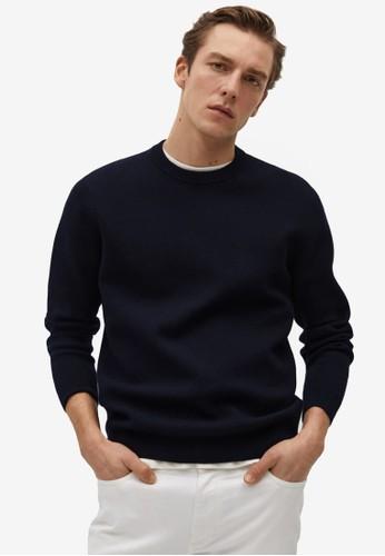Mango Man blue Soft Textured Sweater 556DBAAD865DEAGS_1
