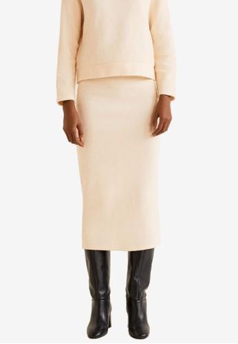 MANGO white Knitted Cotton Skirt 49476AA100D6EBGS_1