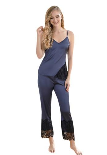 LYCKA blue LCB2158-Lady Casual Pajamas Two Pieces Set-Blue CCA26US81478BCGS_1