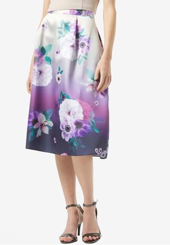 Dorothy Perkins blue Prom Midi Floral Ombre Print Skirt A15DDAA4BF233EGS_1