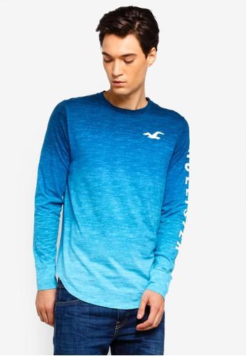 Hollister blue Logo Ombre T-Shirt FB097AA395ED74GS_1