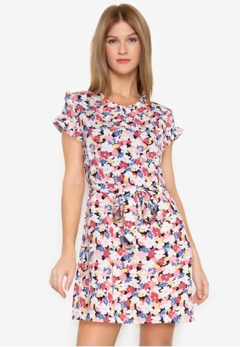 ZALORA BASICS multi Printed Ruffle Sleeve Mini Dress 4F551AAEC2652AGS_1