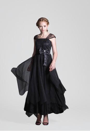 黑色寬版肩帶蝴蝶結腰版手工縫鑽不對稱下擺網紗長禮服, esprit mongkok服飾, 長洋裝