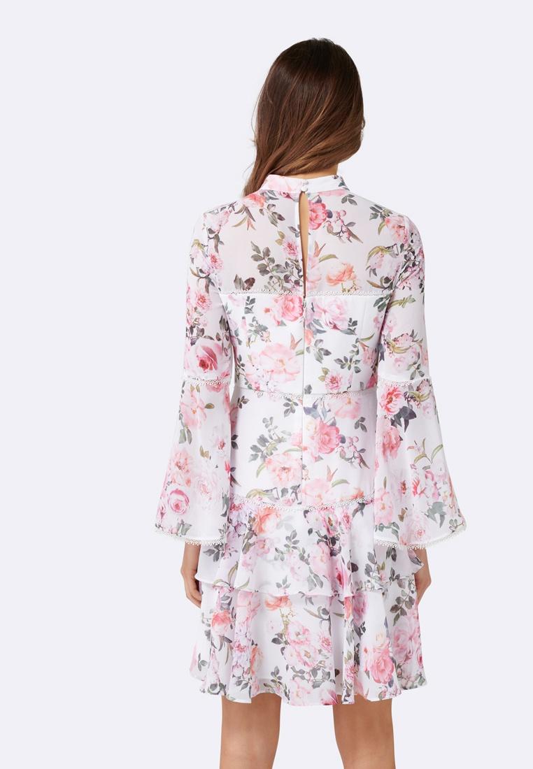 Porcelain Sleeve Floral Dress Based Forever Archie New Flare XBqnxR