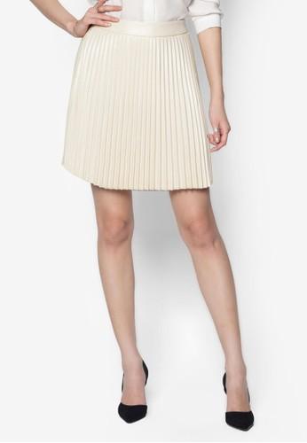 PU 褶飾傘狀短裙, 服飾esprit hk store, 服飾