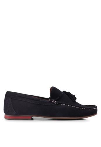 Topman navy Navy Suede 'Stone' Tassel Loafers 3D825SHE4B8435GS_1