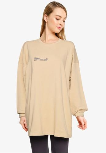 Public Desire beige Graphic Oversized Long Sleeve T-Shirt DBA44AA759CBA4GS_1