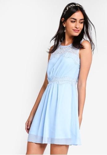 ZALORA blue Bridesmaid Lace Insert Dress D6B1DAAAC811ABGS_1