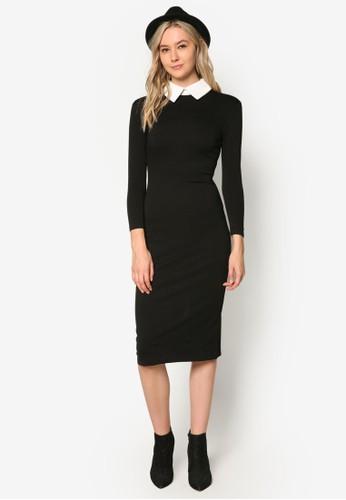 撞色小方領貼身長esprit官網袖連身裙, 服飾, 洋裝