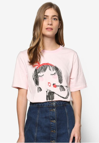 Pink Evil × Darren 聯名男友風圖案設計TEE, 服飾esprit 衣服, 上衣