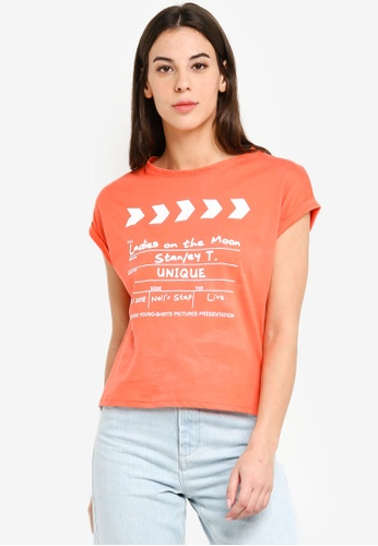 UniqTee orange Clapperboard Boxy Tee 70146AADAE92DAGS_1