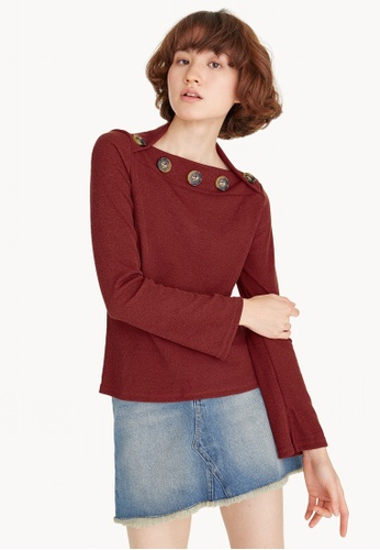 Pomelo orange Ribbed Button Neck Long Sleeve Top - Maroon F36F5AADEC6054GS_1