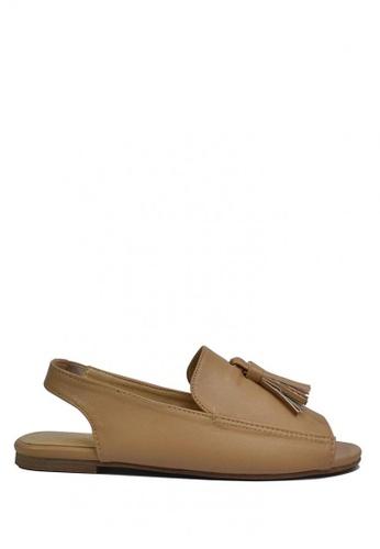 HDY beige Peyton Flat Sandals with Mini Tassels HD484SH0JC1HPH_1