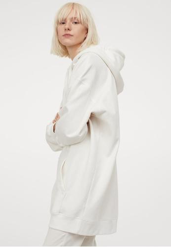 H&M white Long Hoodie 079FAAA28E42E6GS_1