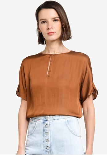 Banana Republic brown Short Sleeves Crew Keyhole Relaxed Blouse 0DF41AADEF207EGS_1