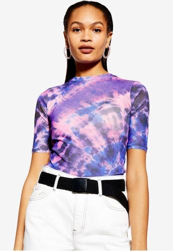 9571142caed5f6 Buy TOPSHOP Mesh Tie Dye Top Online on ZALORA Singapore