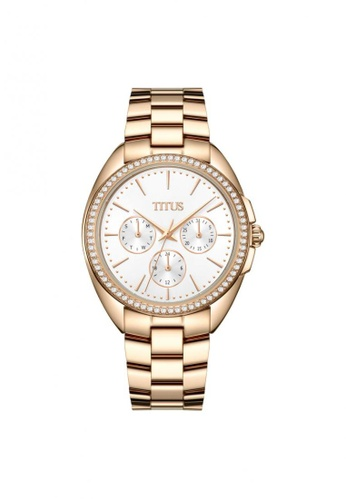 Solvil et Titus gold Fashionista Women's Multi-Function Quartz Watch in Silver White Dial and Rose Gold Stainless Steel Bracelet 23353AC52935ECGS_1