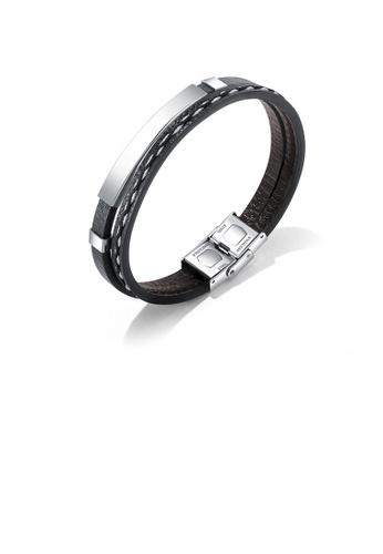 Glamorousky silver Simple Punk 316L Stainless Steel Geometric Rectangular Leather Bracelet 16ADBAC3CF582EGS_1