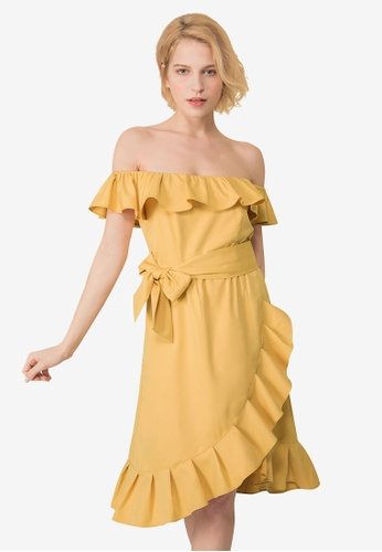 Kodz yellow Ruffle Layers Off-Shoulder Dress 7978DAA3061D12GS_1