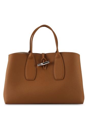 LONGCHAMP beige Roseau Top Handle Bag L (nt) 23655AC7EBAD1DGS_1