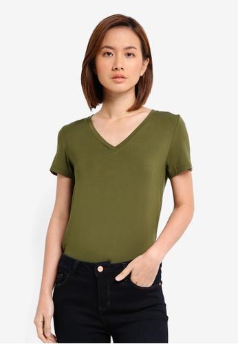 ZALORA green Essential V Neck Tee FF181AA04438F9GS_1