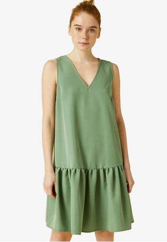 KOTON green Ruched Shift Dress 524CCAA0927BFBGS_1