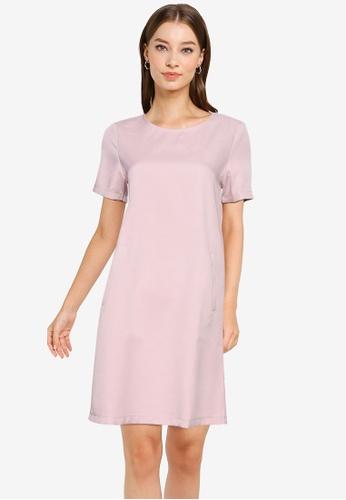 ZALORA WORK pink Pocket Detail Shift Dress 67582AA51DB3A2GS_1