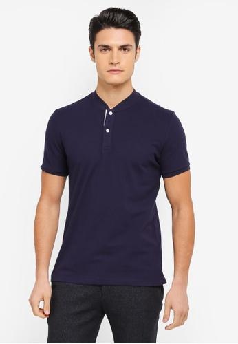 ZALORA navy Mandarin Collar Contrast Colour Polo Shirt 5F8A0AA1E9D9F9GS_1