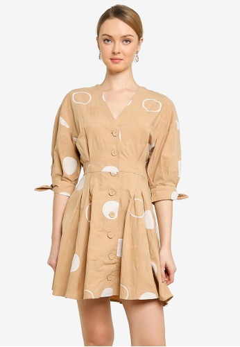 Saturday Club brown Shirt Dress With Dotted Prints 33BFBAAE37436EGS_1