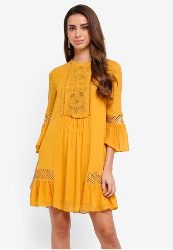 Forever New yellow Princeton Embroidered Yoke Dress E8DA2AA98C66EBGS_1